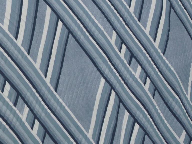Kit: 1 Cobre-leito Queen Bouti de Microfibra Ultrasonic Estampada + 2 Porta-travesseiros - Belmont Azul - Dui Design