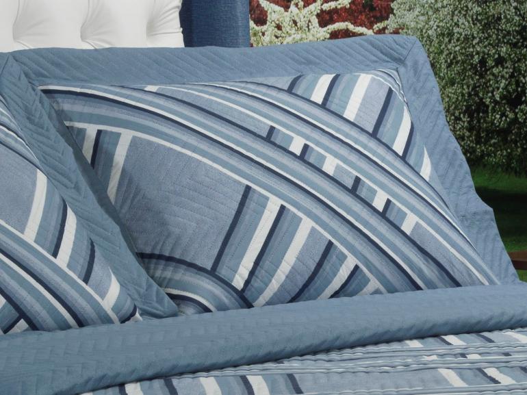Kit: 1 Cobre-leito Solteiro Bouti de Microfibra Ultrasonic Estampada + 1 Porta-travesseiro - Belmont Azul - Dui Design