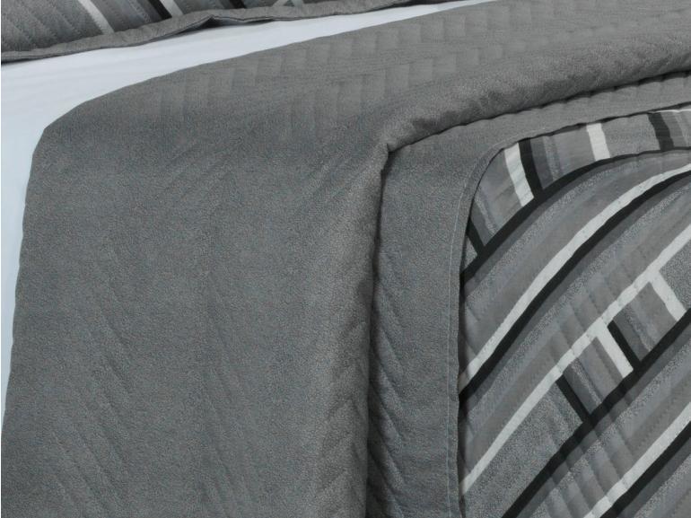 Kit: 1 Cobre-leito Solteiro Bouti de Microfibra Ultrasonic Estampada + 1 Porta-travesseiro - Belmont Cinza - Dui Design