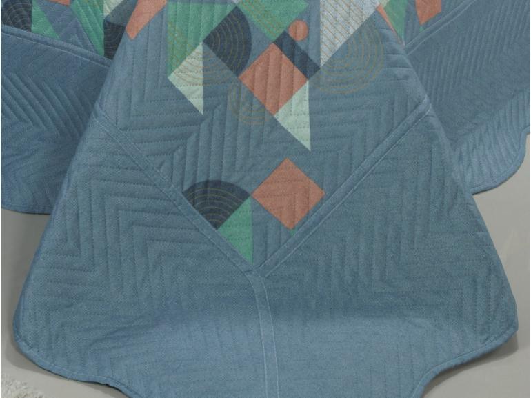 Kit: 1 Cobre-leito King Bouti de Microfibra Ultrasonic Estampada + 2 Porta-travesseiros - Benjamin Azul - Dui Design