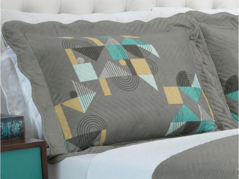 Kit: 1 Cobre-leito Casal Bouti de Microfibra Ultrasonic Estampada + 2 Porta-travesseiros - Benjamin Cinza - Dui Design