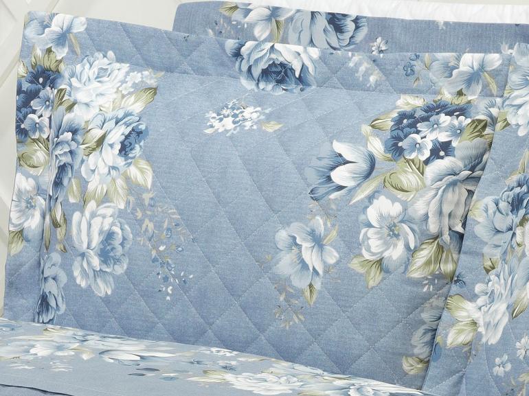 Kit: 1 Cobre-leito Solteiro + 1 Porta-travesseiro 150 fios - Betânia Jeans - Dui Design