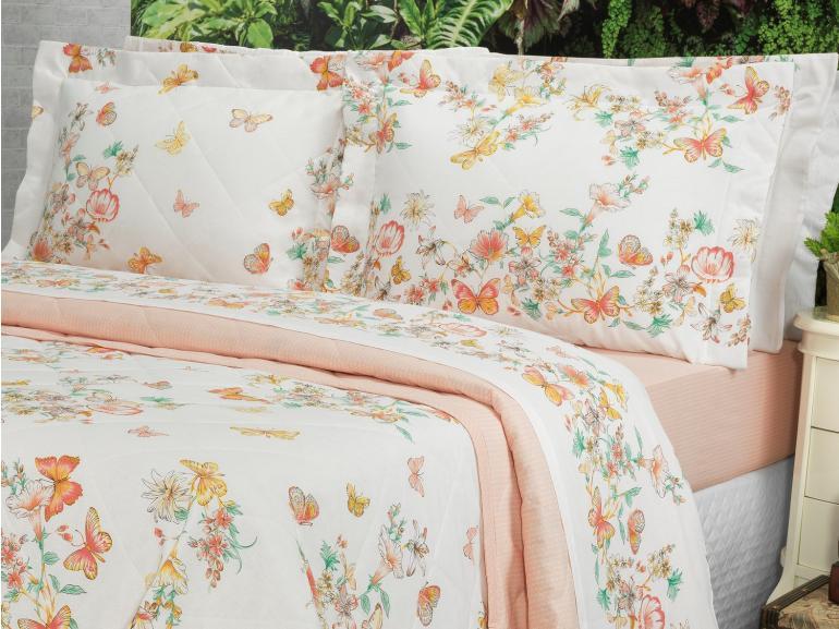 Kit: 1 Cobre-leito King + 2 Porta-travesseiros 150 fios - Beth Pêssego - Dui Design