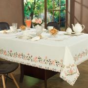 Toalha de Mesa com Bordado Richelieu Quadrada 8 Lugares 220x220cm - Betina Natural e Nude - Dui Design