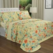 Kit: 1 Cobre-leito Solteiro + 1 Porta-travesseiro Percal 200 fios - Bianca Amarelo - Dui Design