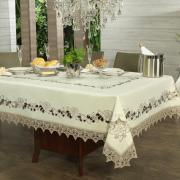 Toalha de Mesa com Bordado Richelieu Retangular 6 Lugares 160x220cm - Bianca Natural Bege - Dui Design
