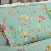Kit: 1 Cobre-leito Solteiro + 1 Porta-travesseiro Percal 200 fios - Bianca Turquesa - Dui Design