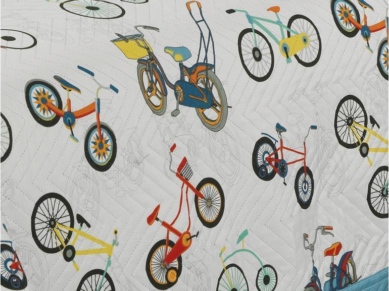 Kit: 1 Cobre-leito Casal Kids Bouti de Microfibra PatchWork Ultrasonic + 2 Porta-travesseiros - Bici Azul - Dui Design