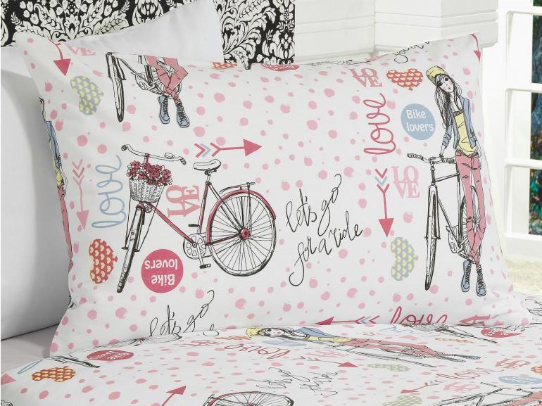 Kit: 1 Cobre-leito Solteiro Kids + 1 Porta-travesseiro 150 fios 100% Algodão - Bike Lovers - Teka