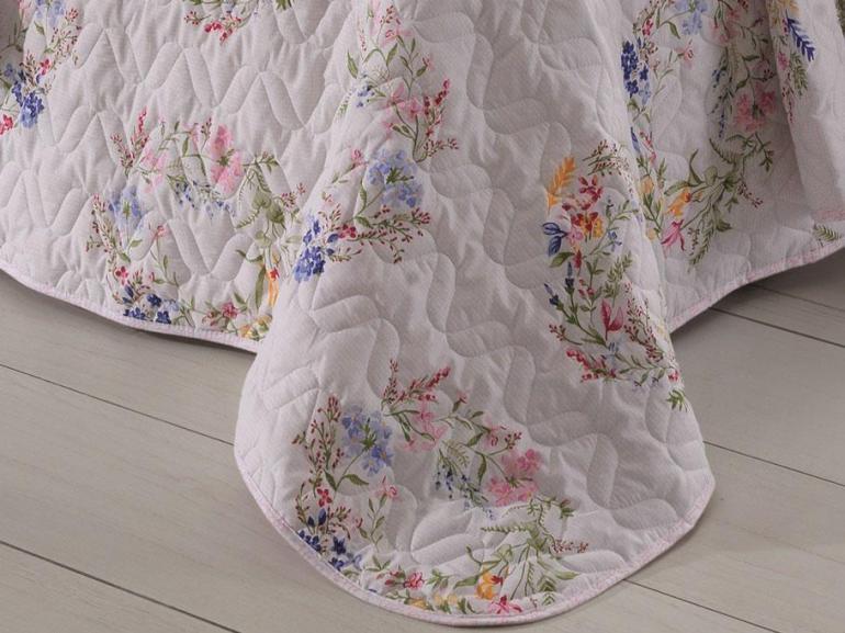 Kit: 1 Cobre-leito King + 2 Porta-travesseiros 150 fios - Bloom Rosa - Santista
