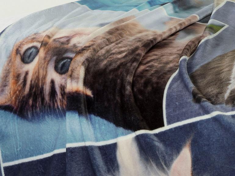 Cobertor Avulso Casal Flanelado com Estampa Digital 280 gramas/m² - Blue Cats - Dui Design