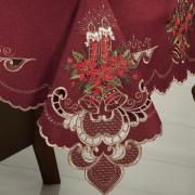 Toalha de Mesa Natal com Bordado Richelieu Retangular 8 Lugares 160x270cm - Boas Festas Vermelho - Dui Design