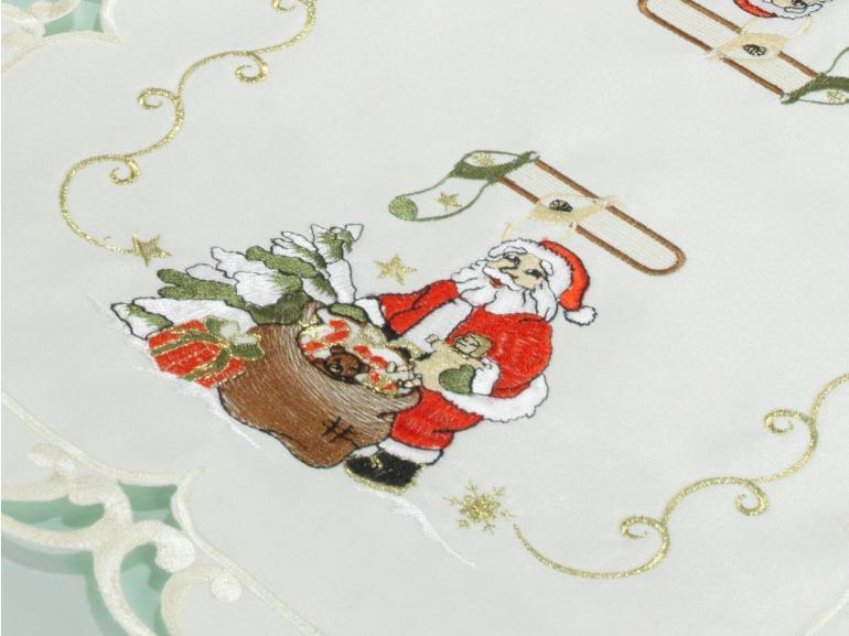 Jogo Americano Natal 4 Lugares (4 peças) com Bordado Richelieu 35x50cm - Bom Natal Natural - Dui Design
