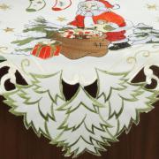 Centro de Mesa Natal Quadrado com Bordado Richelieu 85x85cm - Bom Natal Natural - Dui Design