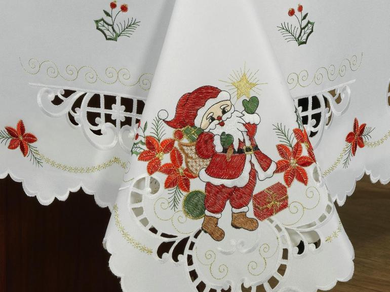 Toalha de Mesa Natal com Bordado Richelieu Quadrada 4 Lugares 160x160cm - Bom Velhinho Branco - Dui Design