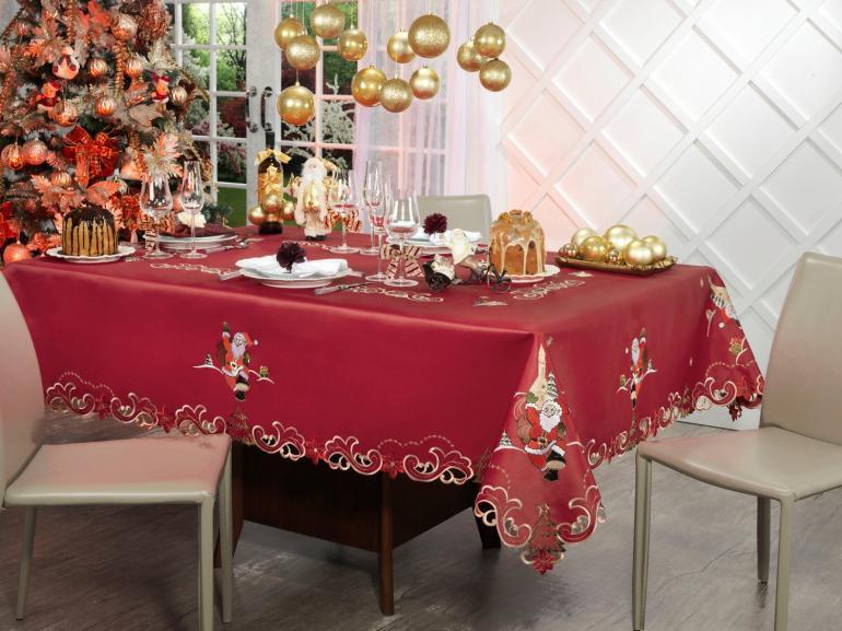 Toalha de Mesa Natal com Bordado Richelieu Retangular 6 Lugares 160x220cm - Bondade Vermelho - Dui Design
