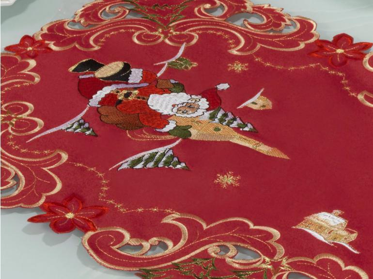 Trilho de Mesa Natal com Bordado Richelieu 40x85cm Avulso - Bondade Vermelho - Dui Design