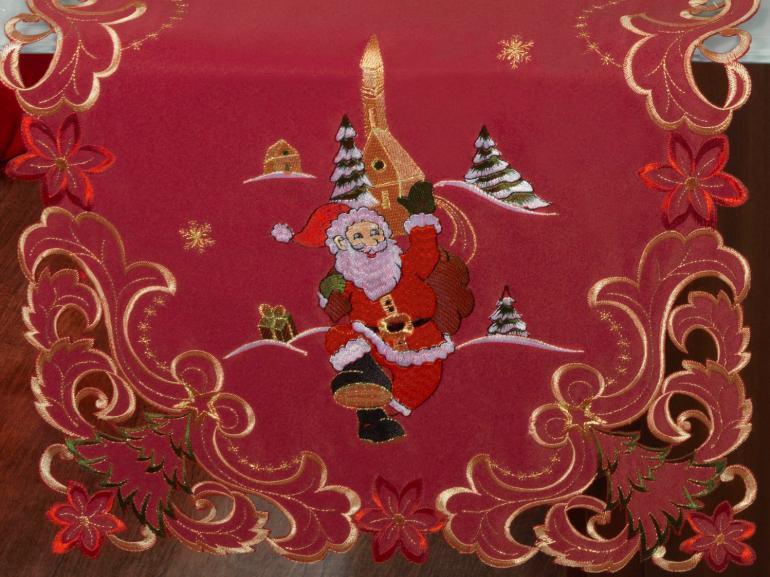 Trilho de Mesa Natal com Bordado Richelieu 45x170cm Avulso - Bondade Vermelho - Dui Design