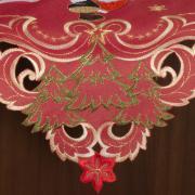Centro de Mesa Natal Quadrado com Bordado Richelieu 85x85cm - Bondade Vermelho - Dui Design
