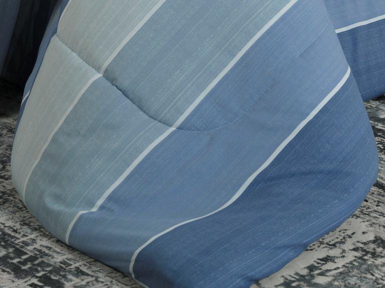 Jogo de Cama Queen Percal 200 fios - Boston Azul - Dui Design