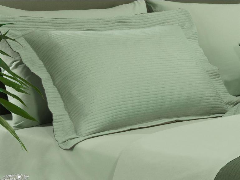 Kit: 1 Cobre-leito Casal Bouti de Microfibra Ultrasonic + 2 Porta-travesseiros - Brios Verde e Oliva - Dui Design