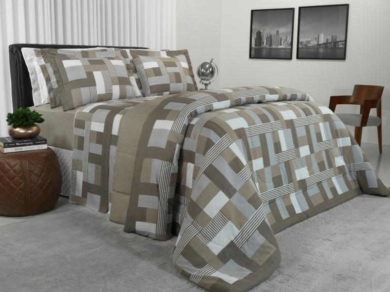 Jogo de Cama Queen Percal 180 fios - Brix Stone - Dui Design