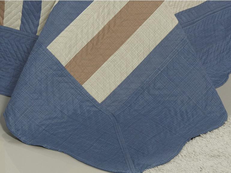 Kit: 1 Cobre-leito King Bouti de Microfibra Ultrasonic Estampada + 2 Porta-travesseiros - Bruce Indigo - Dui Design