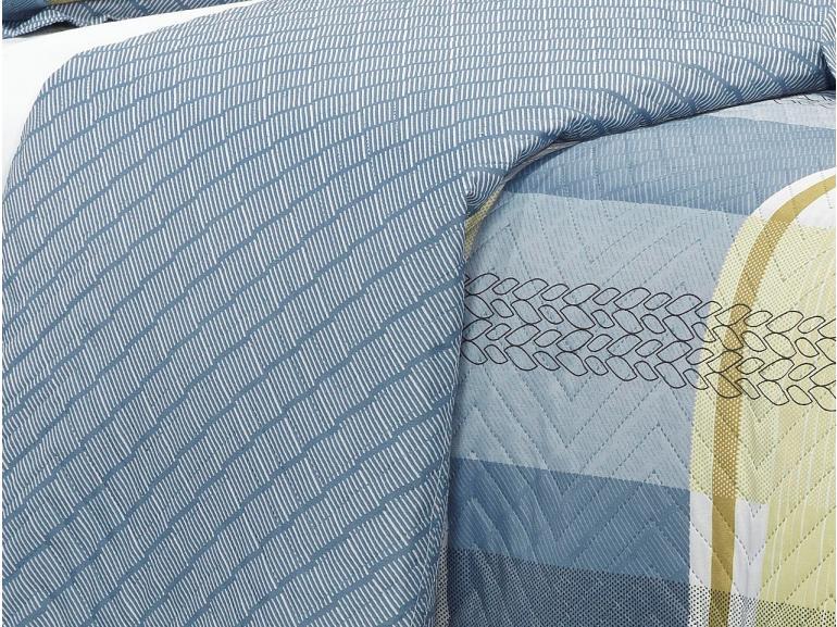 Kit: 1 Cobre-leito Casal Bouti de Microfibra Ultrasonic Estampada + 2 Porta-travesseiros - Bryan Azul - Dui Design