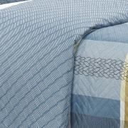 Kit: 1 Cobre-leito Solteiro Bouti de Microfibra Ultrasonic Estampada + 1 Porta-travesseiro - Bryan Azul - Dui Design