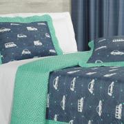 Kit: 1 Cobre-leito Solteiro Kids Bouti de Microfibra PatchWork Ultrasonic + 1 Porta-travesseiro - Buster Azul - Dui Design