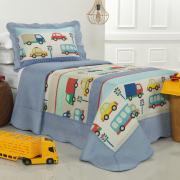 Kit: 1 Cobre-leito Solteiro Kids Bouti de Microfibra PatchWork Ultrasonic + 1 Porta-travesseiro - Busy Azul - Dui Design