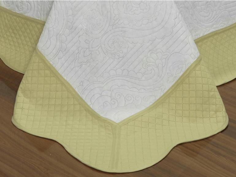 Kit: 1 Cobre-leito Queen Bouti de Microfibra Ultrasonic + 2 Porta-travesseiros - Cadenza Branco e Bege - Dui Design