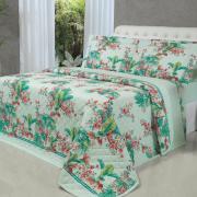 Kit: 1 Cobre-leito King + 2 Porta-travesseiros 150 fios - Caete Turquesa - Dui Design