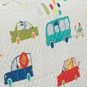 Kit: 1 Cobre-leito Solteiro Kids Bouti de Microfibra PatchWork Ultrasonic + 1 Porta-travesseiro - Caio Azul - Dui Design