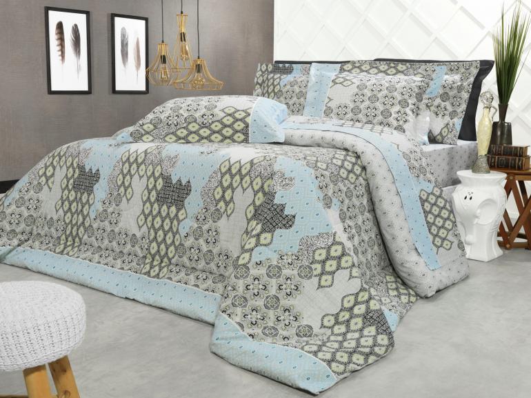 Edredom Solteiro Percal 200 fios - Cairo Cinza - Dui Design