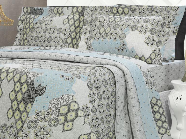 Kit: 1 Cobre-leito Solteiro + 1 Porta-travesseiro Percal 200 fios - Cairo Cinza - Dui Design
