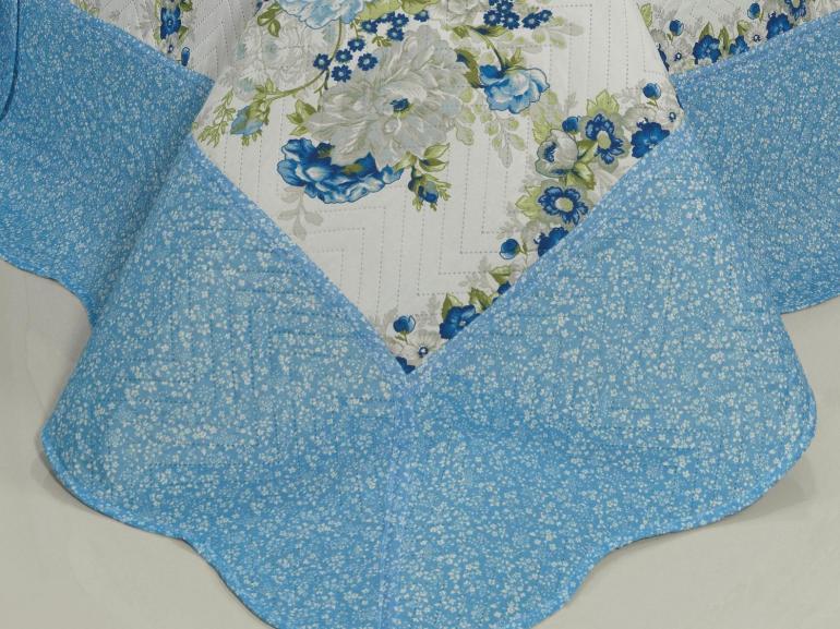 Kit: 1 Cobre-leito Casal Bouti de Microfibra Ultrasonic Estampada + 2 Porta-travesseiros - Camila Azul - Dui Design