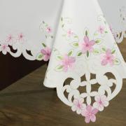 Toalha de Mesa com Bordado Richelieu Quadrada 8 Lugares 220x220cm - Camila Branco e Rosa - Dui Design