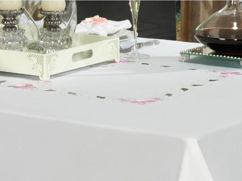 Toalha de Mesa com Bordado Richelieu Retangular 8 Lugares 160x270cm - Camila Branco e Rosa - Dui Design