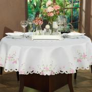 Toalha de Mesa com Bordado Richelieu Redonda 180cm - Camila Branco e Rosa - Dui Design