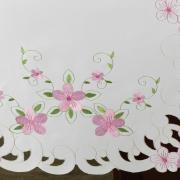 Trilho de Mesa com Bordado Richelieu 45x170cm Avulso - Camila Branco e Rosa - Dui Design