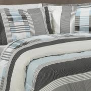 Jogo de Cama Casal Percal 180 fios - Capri Cinza - Dui Design