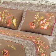 Kit: 1 Cobre-leito Solteiro + 1 Porta-travesseiro Percal 200 fios 100% Algodão - Carmela Taupe - Dui Design