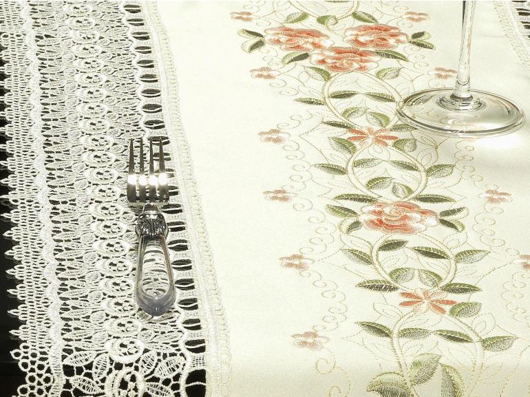 Trilho de Mesa com Bordado Richelieu 45x170cm Avulso - Carolina Pêssego - Dui Design