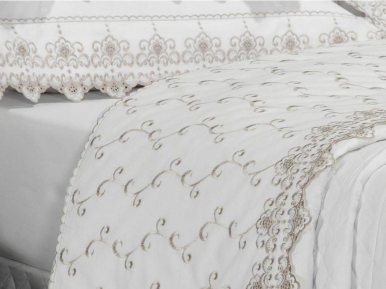 Jogo de Cama Solteiro Percal 200 fios com Bordado Inglês - Castelo Branco e Gelo - Dui Design