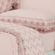 Kit: 1 Cobre-leito Queen + 2 porta-travesseiros Percal 200 fios com Bordado Inglês - Castelo Rosa Velho - Dui Design