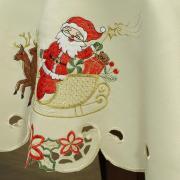 Toalha de Mesa Natal com Bordado Richelieu Redonda 180cm - Celebrate Natural - Dui Design