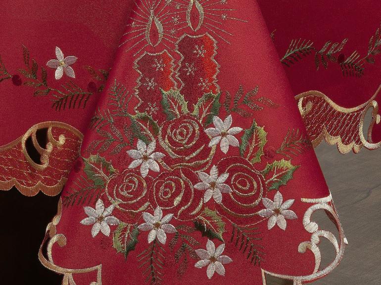 Toalha de Mesa Natal com Bordado Richelieu Retangular 6 Lugares 160x220cm - Celebrate Vermelho - Dui Design