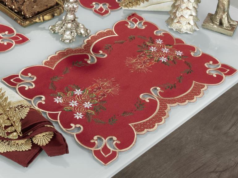 Jogo Americano Natal 4 Lugares (4 peças) com Bordado Richelieu 35x50cm - Celebrate Vermelho - Dui Design