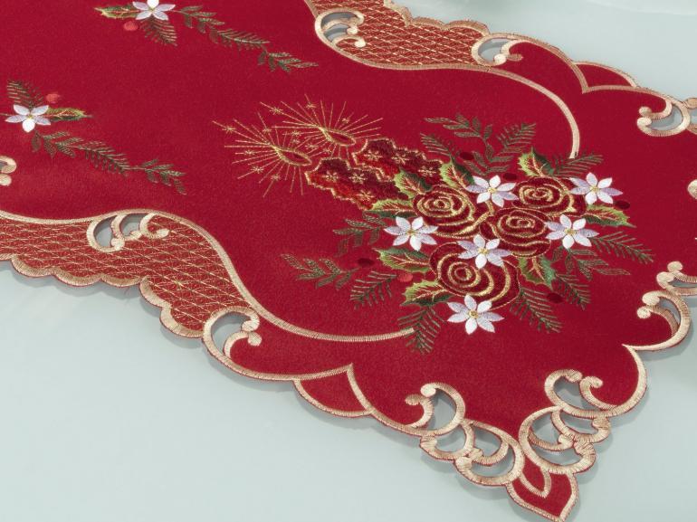 Trilho de Mesa Natal com Bordado Richelieu 40x85cm Avulso - Celebrate Vermelho - Dui Design